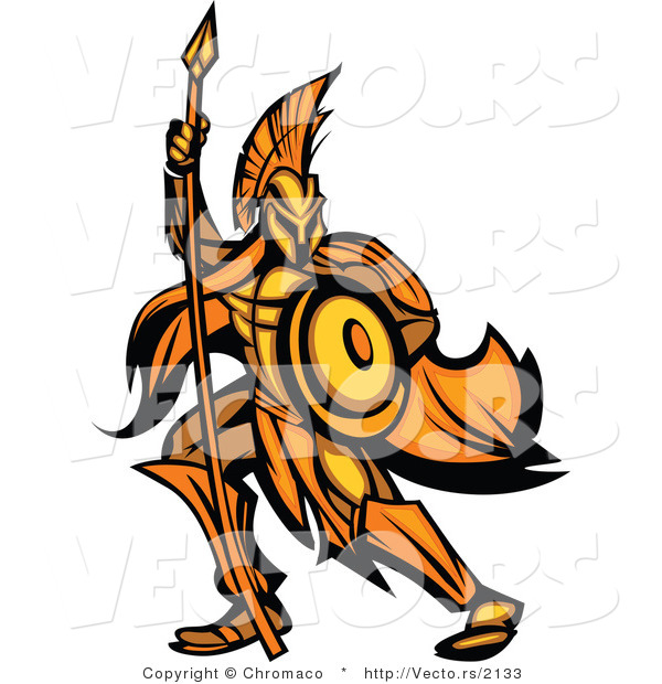 Vector of a Gold Spartan Battling with Spear