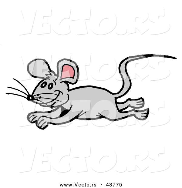 Vector of a Gray Mouse Running and Leaping