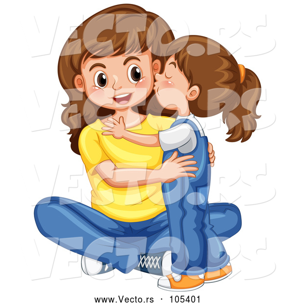 Vector of a Happy Baby Girl Kissing Her Mom on the Cheek