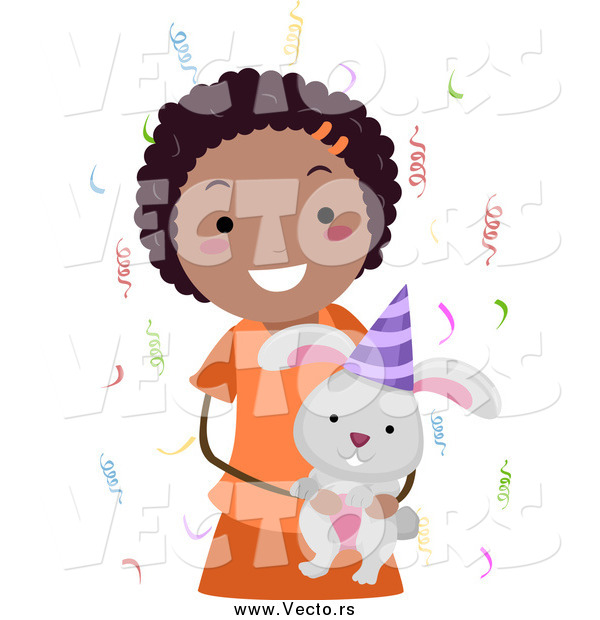 Vector of a Happy Black Birthday Girl Holding a Rabbit