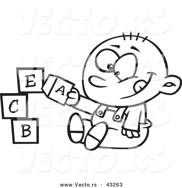 Vector of a Happy Cartoon Baby Boy Playing with Alphabet Blocks - Coloring Page Outline