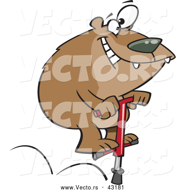 Vector of a Happy Cartoon Bear Jumping on a Pogo Stick