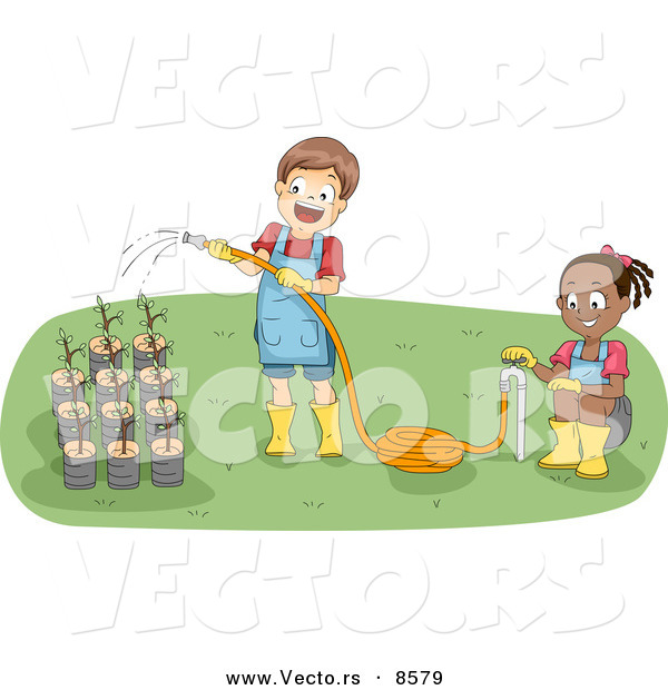Vector Of A Happy Cartoon Boy And Girl Watering Potted Garden Plants
