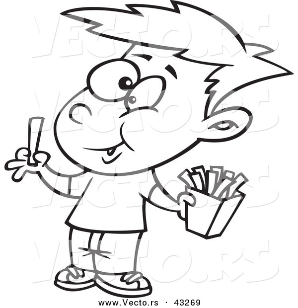 Vector of a Happy Cartoon Boy Eating French Fries  Coloring Page