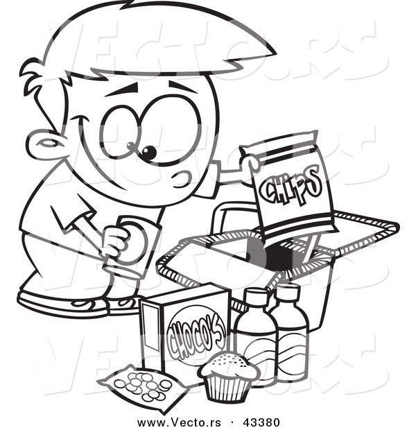 vector of a happy cartoon boy packing junk food into a picnic basket coloring page