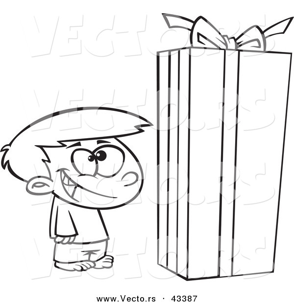Vector of a Happy Cartoon Boy Standing by a Large Christmas Gift
