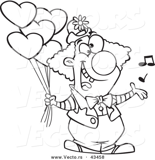 Vector of a Happy Cartoon Clown Singing and Holding ...