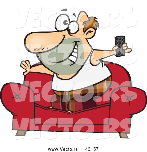 Vector of a Happy Cartoon Couch Surfer Man Standing on His Sofa with a TV Remote Control
