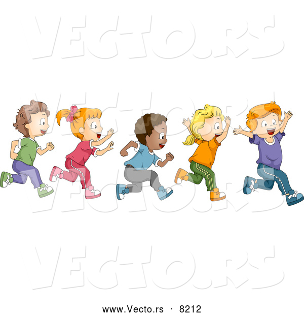 vector of a happy cartoon diverse school children running together - Cartoon Picture Of A Child