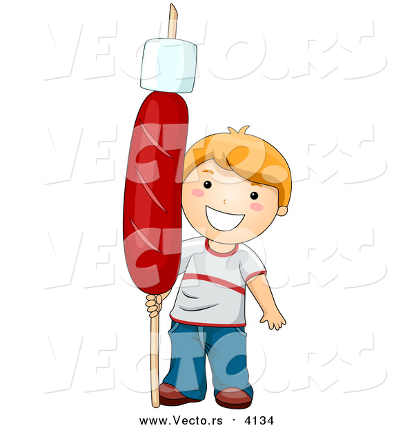 Vector of a Happy Red Haired Boy Holding a Giant Hot Dog with a Marshmallow on a Stick