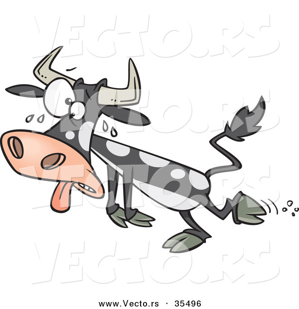 Vector of a Hot Cartoon Cow Falling Towards the Ground While Sweating with His Tongue out and Crossed Eyes