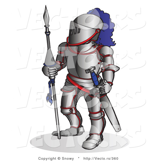 Vector of a Knight Armed with a Spear and Sword