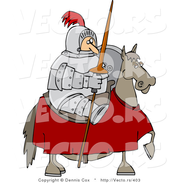 Vector of a Knight Holding Lance While Sitting on a Horse