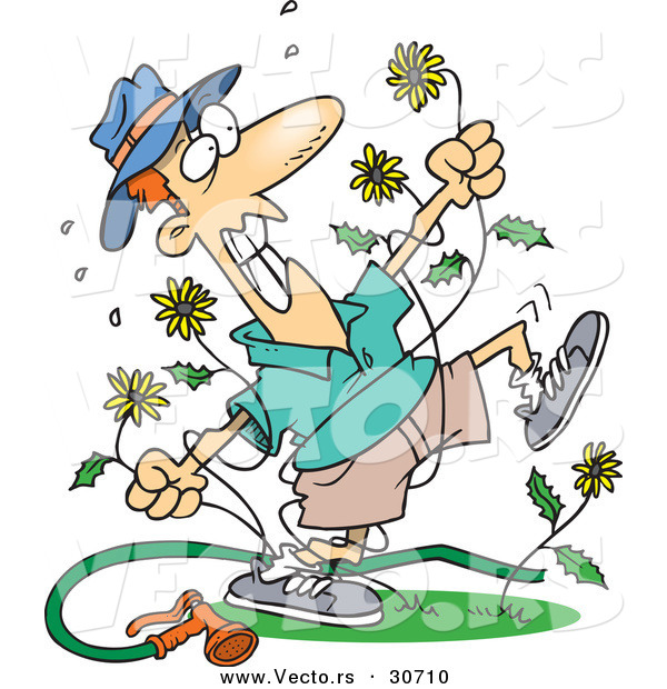 ... of a Mad Cartoon Man Killing Dandelion Weeds by Ron Leishman - #30710