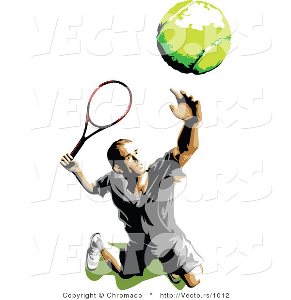 Vector of a Male Tennis Player Tossing and Serving the Ball