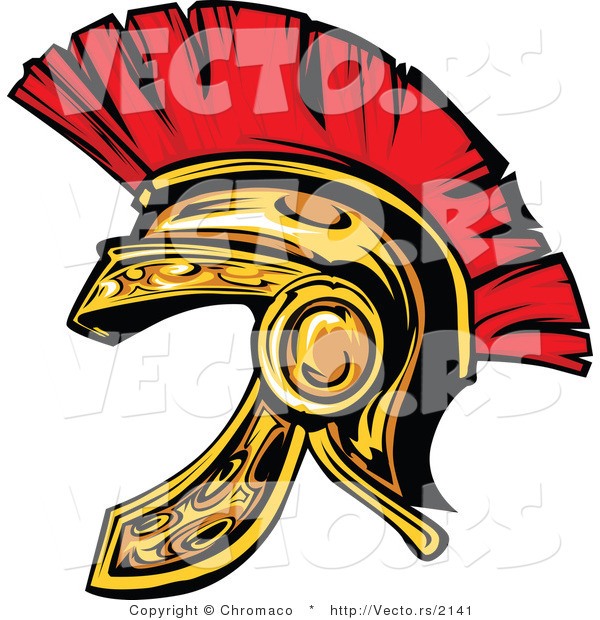 Vector of a Red and Gold Spartan Helmet