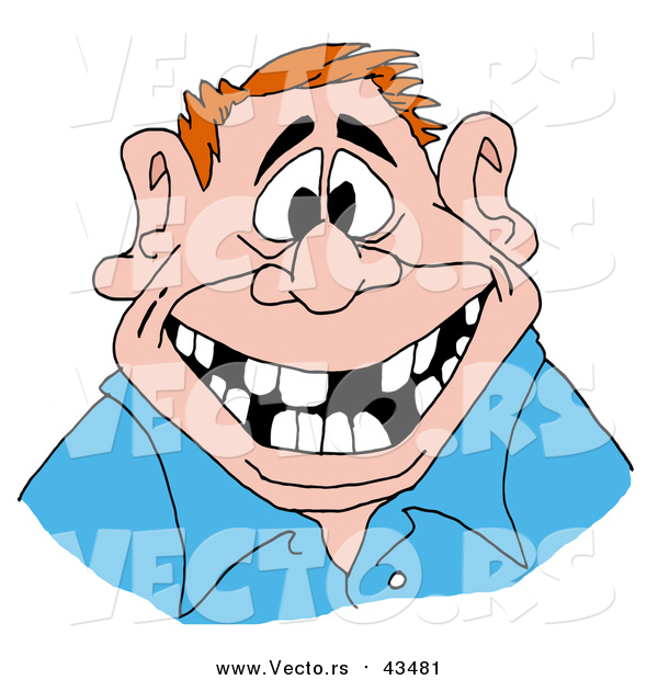 Vector of a Red Haired Man Flashing a Big Friendly Smile with a Mouth Numerous Missing Teeth