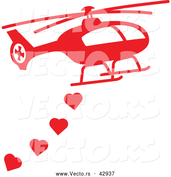 Vector of a Red Helicopter Dropping Love Hearts