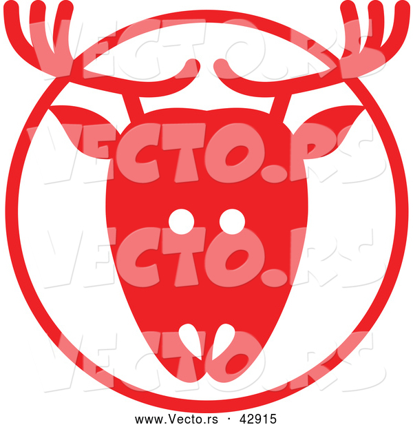 Vector of a Reindeer in Red Circle