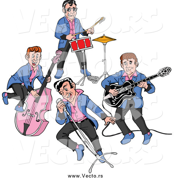 Vector of a Rockabilly Music Band of Guys Singing and Playing the Bass Drums and Guitar