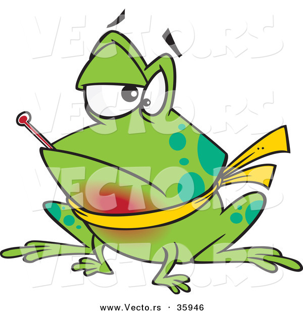 Vector of a Sick Cartoon Frog with Sore Throat and Fever