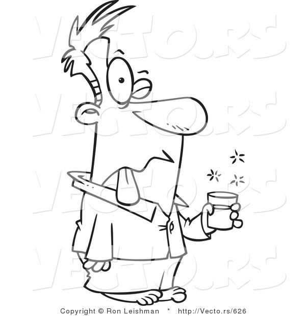 Vector of a Sick Cartoon Man Taking Nasty Medicine - Line Drawing by ...