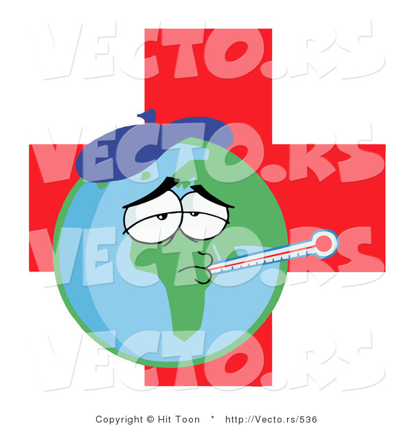 Vector of a Sick Planet Earth with Medical Red Cross