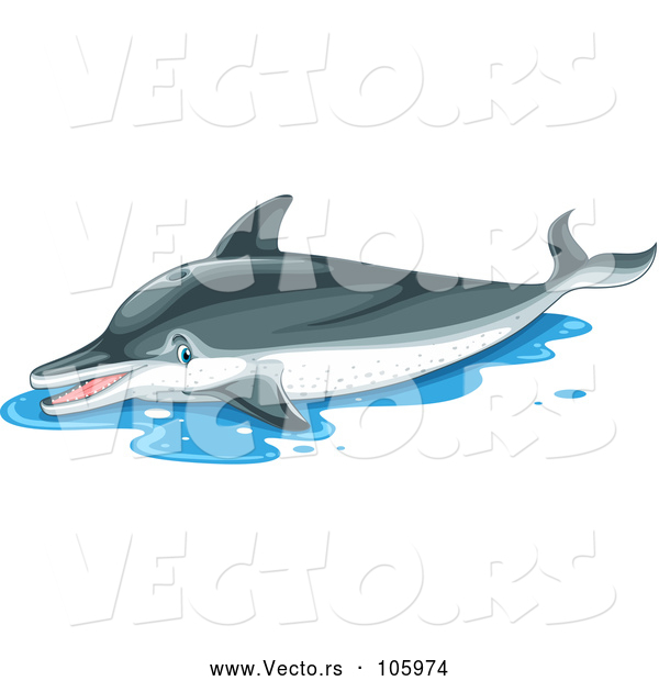 Vector of a Suffering Dolphin out of Water