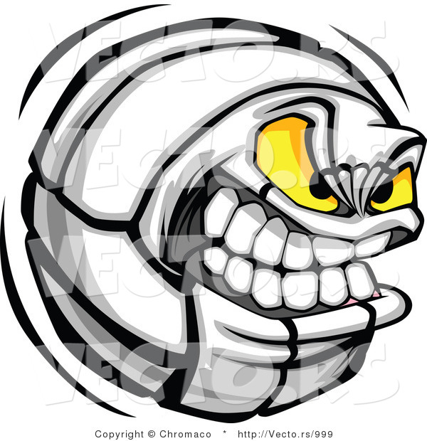 Vector of a Tough Volleyball Cartoon Character Gritting Teeth