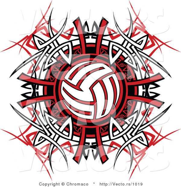 Vector of a Volleyball over Tribal Design
