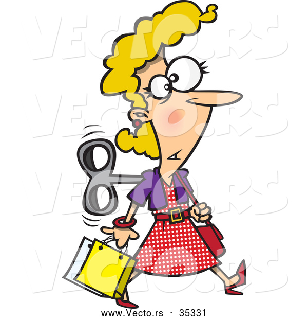 Vector of a Wind up Cartoon Woman Shopping Around While on Auto Pilot