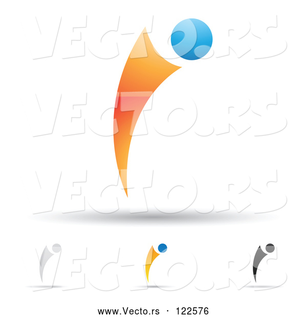 Vector of Abstract Letter I Icons with Shadows 9