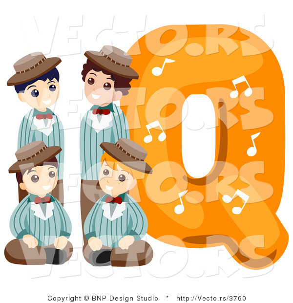 Vector of Alphabet Letter Q with Quartet Boys