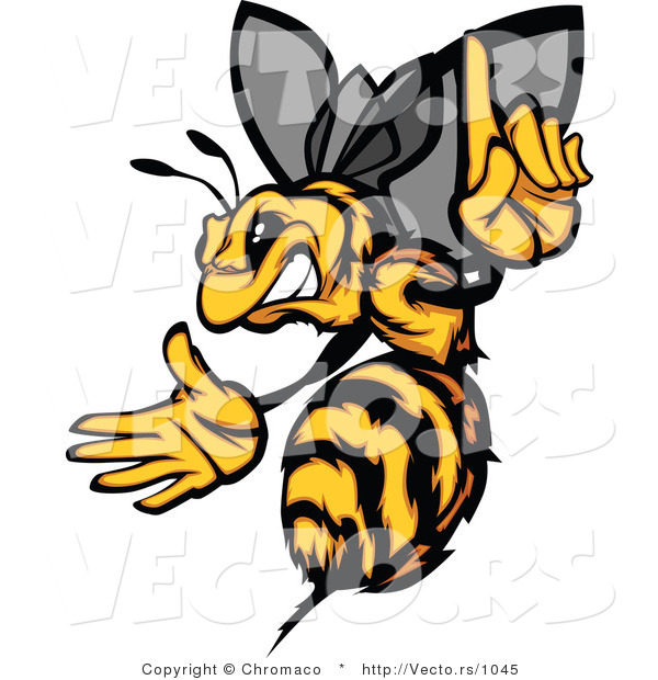 Vector of an Aggressive Bee Pointing Finger-Up While Gritting Teeth and Preparing to Sting