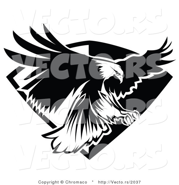 Vector of an American Bald Eagle Flying over a Badge - Black and White Version
