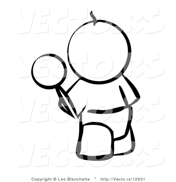 vector of baby outline with a rattle coloring page outlined art