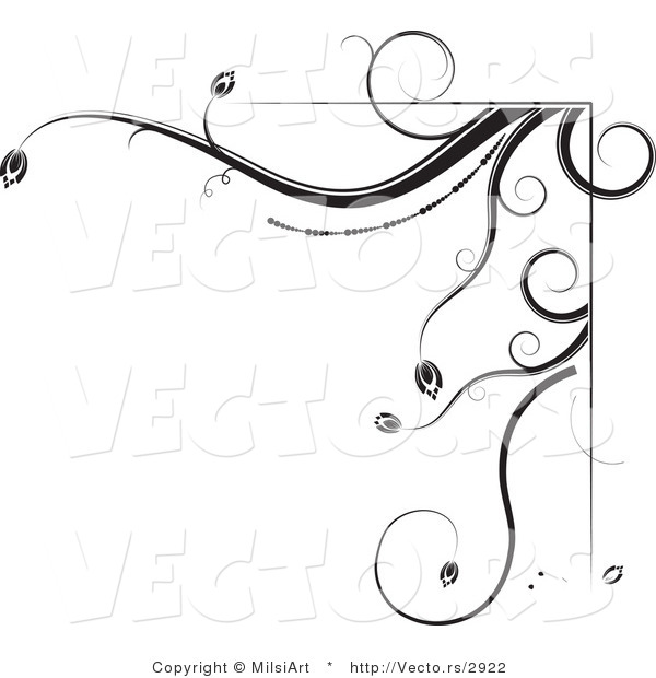 Vector of Black and White Floral Corner Border Design Element Version 2Black and White Floral Corner Border Design Element Version 2
