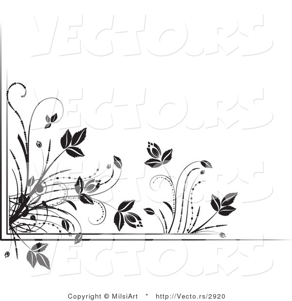 Vector of Black and White Floral Corner Border Design Element Version 4