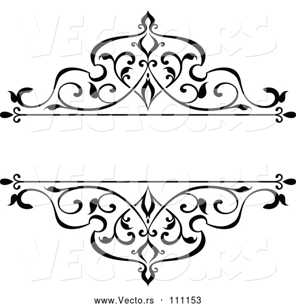 Vector of Black and White Ornate Vintage Floral Frame Design Element with Text Space 4
