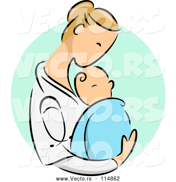 Vector of Blond Caucasian Female Doctor Holding a Newborn Baby over a Green Oval