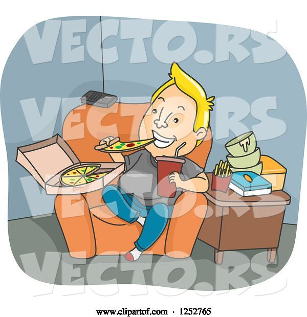 Vector of Blond White Guy Binge Eating Pizza and Junk Food