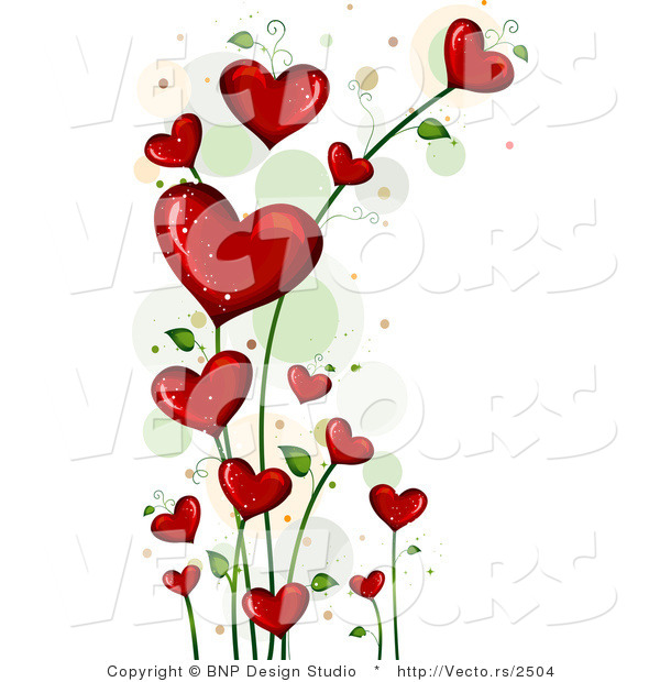 Vector of Blooming Love Hearts Vine Background Border by BNP Design ...