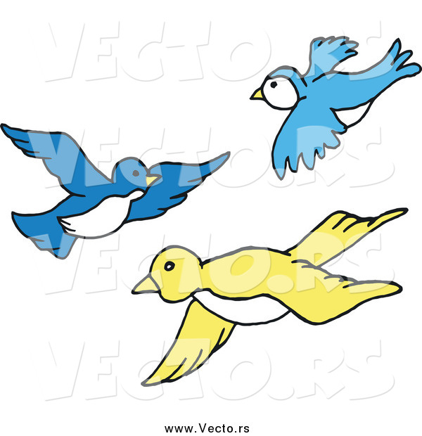 Vector of Blue and Yellow Birds Flying in a Group by LaffToon - #43909