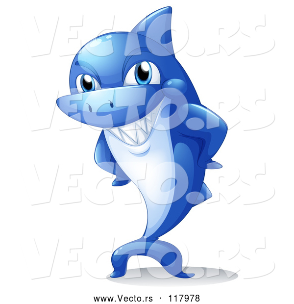 Vector of Blue Cartoon Shark Mascot Grinning with Hands on His Hips