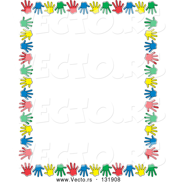 Vector of Border of Colorful Hand Prints over White