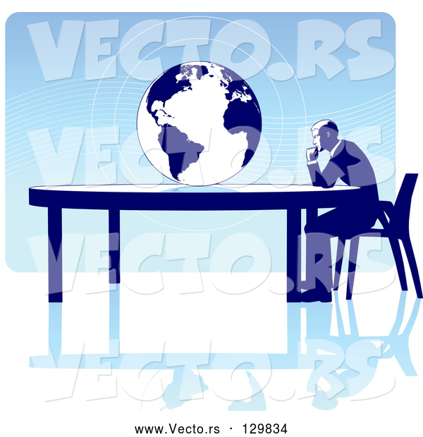 Vector of Business Man Seated at a Table, Facing a Globe over a Blue Background, on a White Surface, Symbolizing Travel, Ecology or International Trade