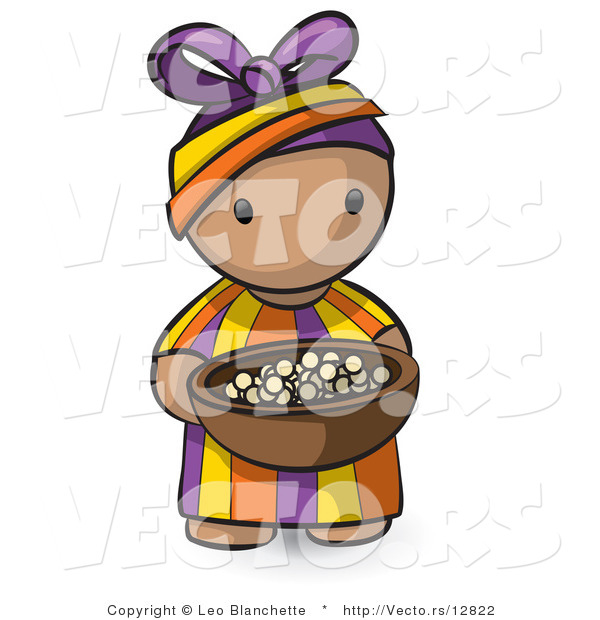 Vector of Cartoon African Girl Carrying Wood Bowl Filled with Food