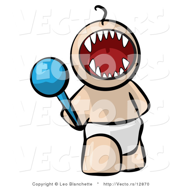 Vector of Cartoon Baby Screaming with Fangs Showing While Holding Rattle Toy