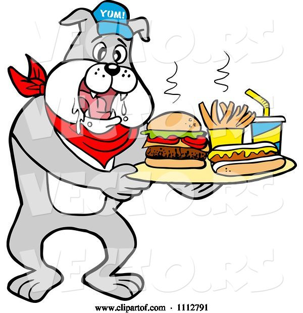 Vector of Cartoon Bbq Bulldog Mascot Drooling over a Tray with a Hot Dog Burger Fries and Soda