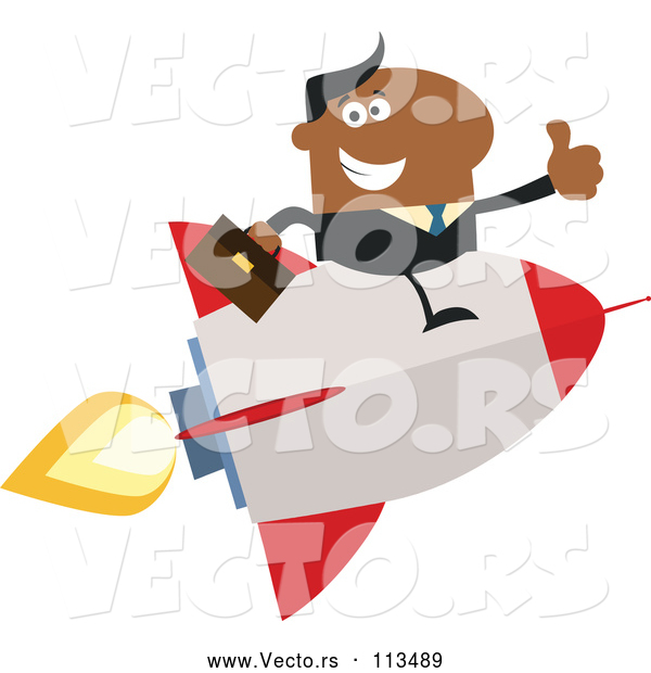 Vector of Cartoon Black Business Man Holding a Thumb up and Flying on a Rocket